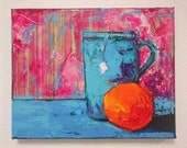 MIXED MEDIA PAINTINGS, original acrylic,  gift idea for valentine's day,  bright colorful kitchen decor, tea lovers decorative art