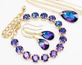 Purple Blue Jewelry Set Gold, Necklace Earrings Bracelet, CZ Pear Heliotrope Swarovski Crystal Cobalt Violet Bridal Jewelry