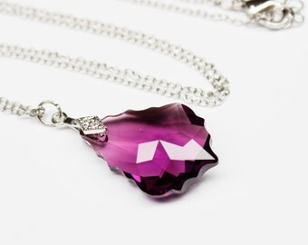 Amethyst Purple Necklace, Eggplant Pendant Baroque Swarovski Crystal Sterling Silver, Bridesmaids Bridal Wedding Jewelry, Victorian Style