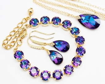 Purple Blue Jewelry Set Gold, Necklace Earrings Bracelet, CZ Pear Heliotrope Swarovski Crystal Cobalt Violet Bridal Jewelry
