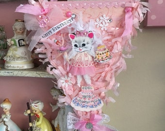 Vintage Style Pink Whimsical Kitschy Kitty Birthday Keepsake Banner One-of-a-kind