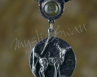 Spirit Deer Fantasy Pendant with Accent Stone Bail in Sterling Silver
