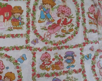 SET of 2 Vintage 1980's Strawberry Shortcake Bedding fitted sheet and Flat Sheet Twin Size