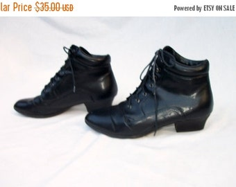 SALE Black Victorian Boots Manmade Size 7 to 7.5 Stormy Mountain Vegan Non Leather