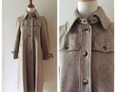Vintage SHERLOCK wool coat / vintage buckle wool trench coat