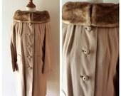 vintage Ladies Auxiliary League Cashmere coat / cashmere car coat with mink portrait collar