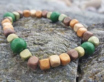 Green Wooden Bead Bracelet