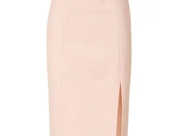 Pencil Skirt with Front Split, Custom Skirt, Custom Fit, Handmade, Fully Lined