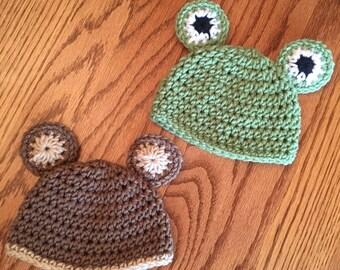 Crochet Baby Bear & Frog Hats