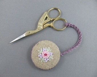 SOLD Irish Linen Scissor Fob • Scissor Charm •  Hand Embroidered • Pink