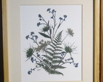 SALE: 11x14 matted botanical design featuring fern and forget-me-nots