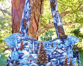 Winter Scene, Snow, Trees, Churches, Holiday, Christmas, Winter - Handbag, Purse, Tote, Shoulder Bag, Outside Pockets