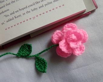 Crochet  Pink    Rose    Bookmark   Appliques,Scrapbooking,School,Office,Girls,Flowers