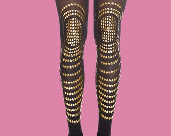 Gold accessories, Goldfish, printed black & gold leggings, available in S-M, L-XL