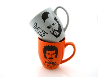 Ultimate Tea Lover's Set, Mr Tea and Hello is it Tea together in orange and grey, Lionel Richie mug, Mr T mug