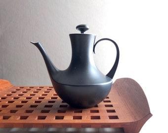Vintage BLOCK Porcelain Teapot - Bidasoa Espana Noche - 1950s 1960s Spain Design - Matte Black Finish - MCM Mid Century Palm Springs Modern