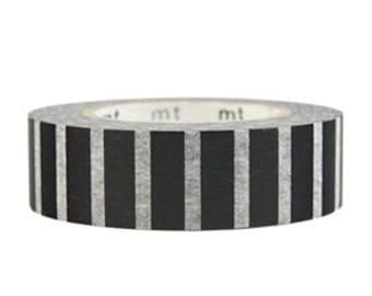 mt Washi Masking Tape - Black & White Piano Stripes (15m roll)