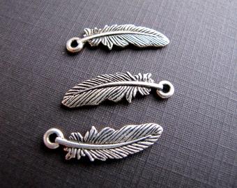 Silver Ox Feather Pendants, Tierra Cast Connectors
