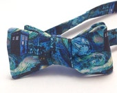 Doctor Who TARDIS on Swirl Self Tie Bow Tie - Mens Bow Tie - Doctor Who - Gift Ideas for Geeks - Mens Tie - Blue Bow Tie - Wedding Bow Tie