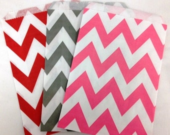 SALE- 24 PINK Chevron Paper Treat Bags, Party Favor Bags- 5 x 7 - Birthday Treat Bags, Wedding Favors, Baby Shower Favors