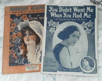 Antique Paper Ephemera Sheet Music