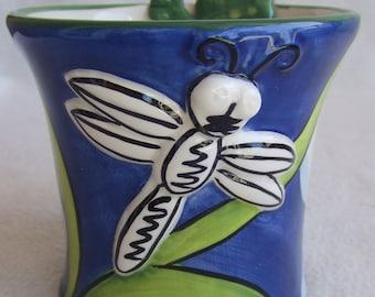 Funky Nicole Engblom Dragonfly Frog Whimsical Coffee Mug