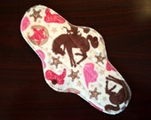 "12"" Extra-long Heavy Flow Reusable Cloth Pad ~ Cowgirl Minky ~ by Talulah Bean"