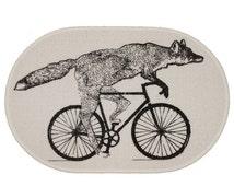 Black Friday Weekend Sale Fox On A Bike White Rug Bath