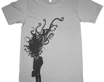 Unisex Octopus Corporate Man Explosion on slate gray American Apparel TShirt - Available in XS, S, M, L, Xl