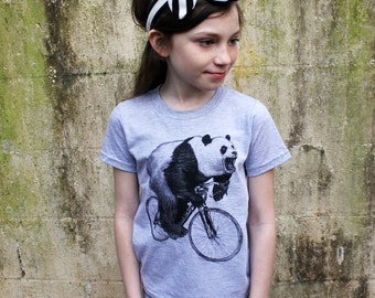 Panda on a Bicycle - Kids T Shirt, Children Tee, Tri Blend Tee, Handmade graphic tee, sizes 2-12