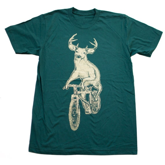 MENS Deer on a Bike Unisex American Apparel FOREST T-Shirt - xs S M L Xl xxl