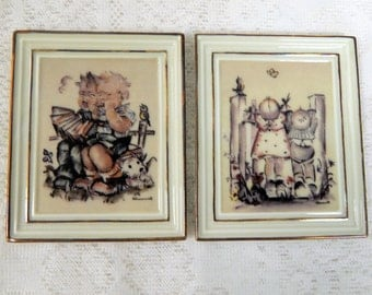 """M. J. Hummel Gallery  2 small China Plaques """"On TipToes"""" """" Out of Tune"""" 4 in by 3in"""