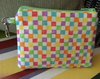 Rainbow,  Checker print,  Zippered Pouch, Coin Purse