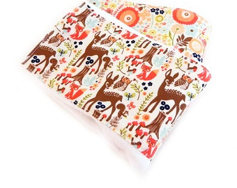 Girl Animal Burp Cloths - Woodland Burp Cloths - Navy Coral Aqua Brown Diaper Burp Cloth set of 2 // Baby Shower Gift // Coral Burp Cloth