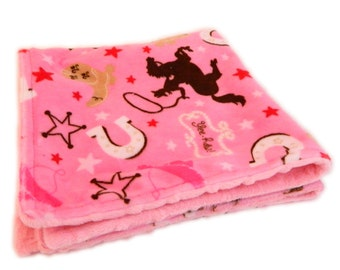 "20"" Minky Baby Blanket Girl Lovie- Brown Pink Cowboy Minky Baby Blanket Girl Lovey - Ready to Mail"