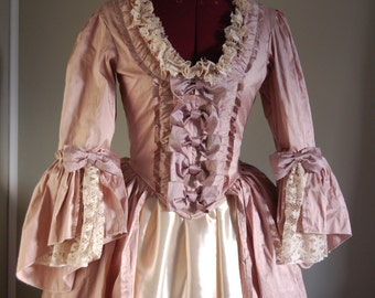 Antique Rose silk taffeta Marie Antoinette Victorian inspired rococo costume dress