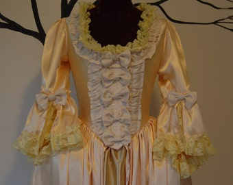 SALE Yellow buttercup satin Marie Antoinette Victorian inspired rococo costume dress