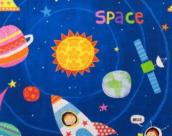 My Space Friend Fabric by Alexander Henry DE #8351A- Planets, Rockets & Aliens- SEW CUTE!