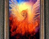 Phoenix Rising Firebird Art Print, Framed and Signed From The Original Oil Painting by Marina Petro