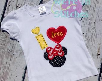 I love Minnie embroidered shirt, applique t-shirt, Minnie Mouse shirt, embroidered, Disney trip tshirt, Disney, girls clothing, custom made