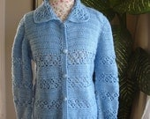 WINTER SALE 30% Off - Brand New Gorgeous Handmade crochet Blue Sweater/ Cardigan with buttons // Ready to be shipped Today