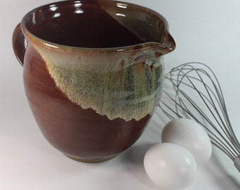 Ceramic Batter Bowl - Mixing Bowl -Kitchen Prep Bowl in Brown  and Green  IN STOCK