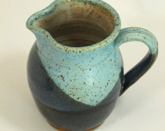 Ceramic Pitcher -  Turquoise and Blue with overlap-  Ready to Ship- In-Stock