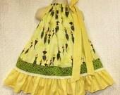 Girls 2T/3T Spinning Tops Yellow Handmade Boutique Pillowcase Dress Pillow Case Dress Sundress
