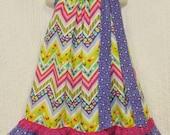 Girls Easter Dress 5/6 Pink Purple Eggs Butterfly Floral Handmade Boutique Pillowcase Dress Pillow Case Dress Sundress