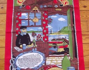 Vintage Souvenir Cornish Pasties Tea Towel with Recipe 20 in. x 30 in.