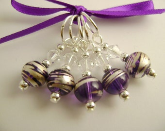 Purple and Silver Art Glass Stitch Markers for Knitting or Crochet