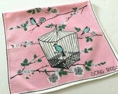 Pink Towel Song Birds Birdcage Sweet Graphics Pastel Colors