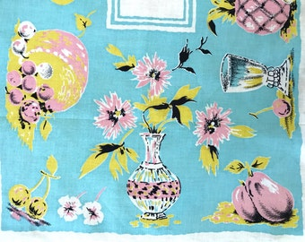 TWO Vintage Kitchen Towels Fruit Flowers Glassware Table Runners Mid Century