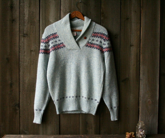 Vintage Wool Pullover Sweater Woolrich Womens Light Blue and